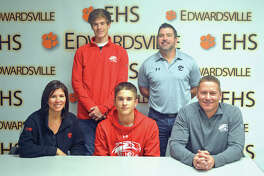 Edwardsville senior Josh Ohl signed to play baseball at SIUE. In the front row, from left to right, are mother Angie Ohl, Josh Ohl and father D.J. Ohl. In the back row, from left to right, are brother Jake Ohl and EHS coach Tim Funkhouser.