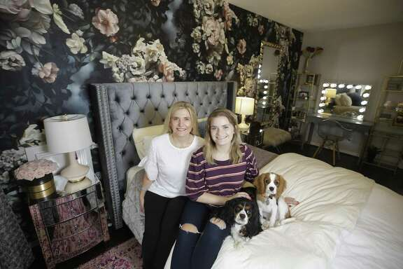Houston interior designer Rainey Richardson designed a room for Brooke Kotrla, right, pictured with her mother Deanna Kotrla, and her dogs, Reggie and Bennett. Richardson wanted to give back to the community, she works through Texas Children's Hospital to improve the bedroom environments of the chronically ill.