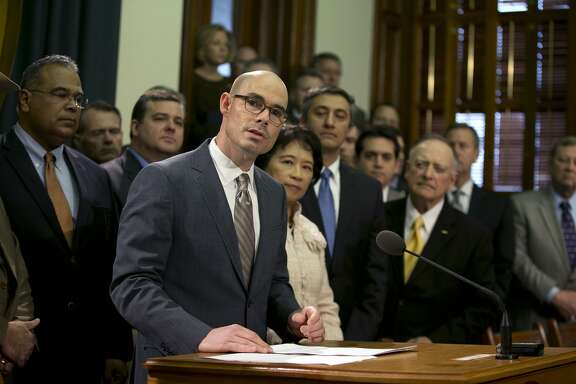 State Rep. Dennis Bonnen, R-Angleton, speaks during a news conference on March 2, 2015 about legislation then pending in the Texas House to strengthen law enforcement resources on the Texas-Mexico border. during a news conference at the Capitol, Monday, March 2, 2015, in Austin, Texas.