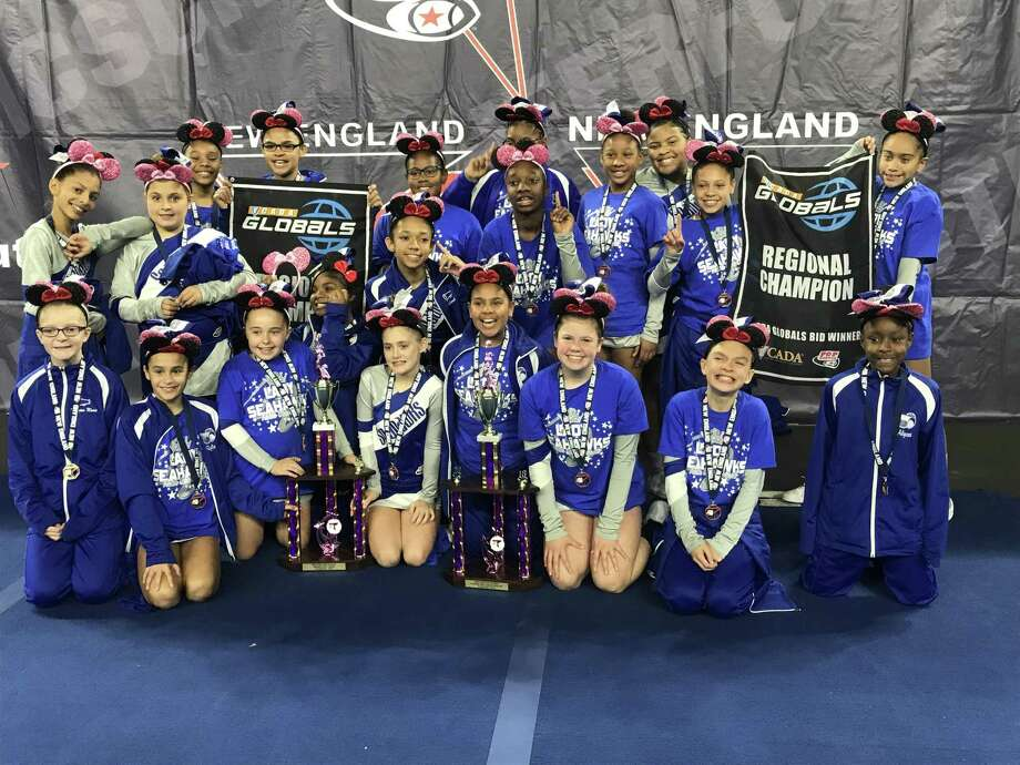 The 2018 West Haven Seahawks Pee Wee cheer team after taking 1st place in the Pop Warner New England Regional Championship earlier this month. The team will compete in the Pop Warner National Championship in early December in Orlando, Fla. Photo: Contributed
