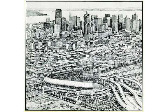 A concept drawing for the 1987 San Francisco Giants stadium at Seventh and Townsend streets.
