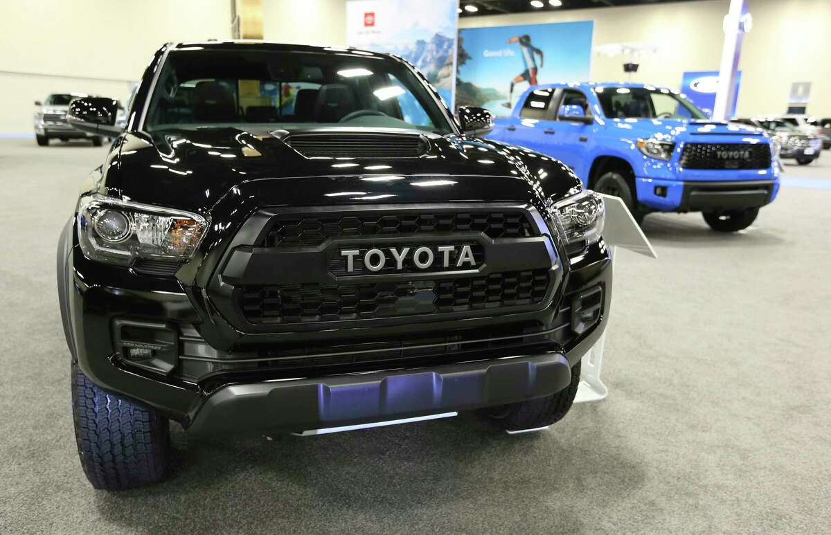 A Toyota Tacoma is on display at the 50th Annual San Antonio Auto & Truck Show at the Convention Center on Nov. 15, 2018. Toyota is moving its Tacoma pickup assembly line to Mexico.