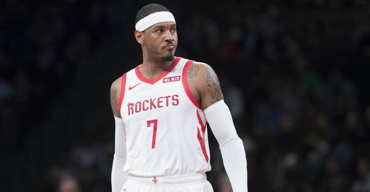 Houston Rockets forward Carmelo Anthony reacts during the first half of an NBA basketball game against the Brooklyn Nets, Friday, Nov. 2, 2018, in New York. (AP Photo/Mary Altaffer)