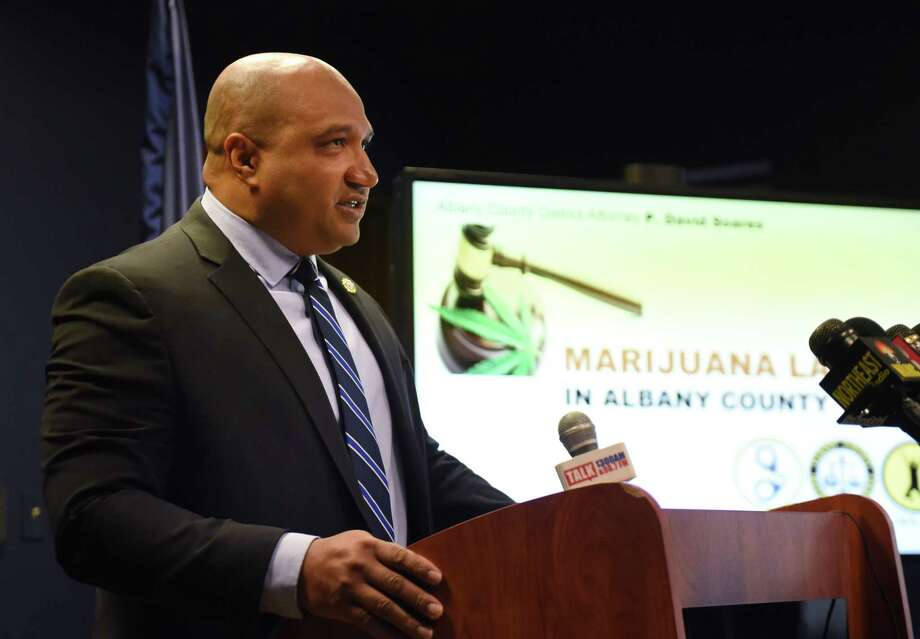Albany County District Attorney David Soares announced he will no longer prosecute the two lowest level of marijuana possession cases and will ask courts to seal the records of anyone previously convicted of those charges on Thursday, Nov. 15, 2018, during a press conference at his offices in Albany, N.Y. (Will Waldron/Times Union) Photo: Will Waldron / 20045498A