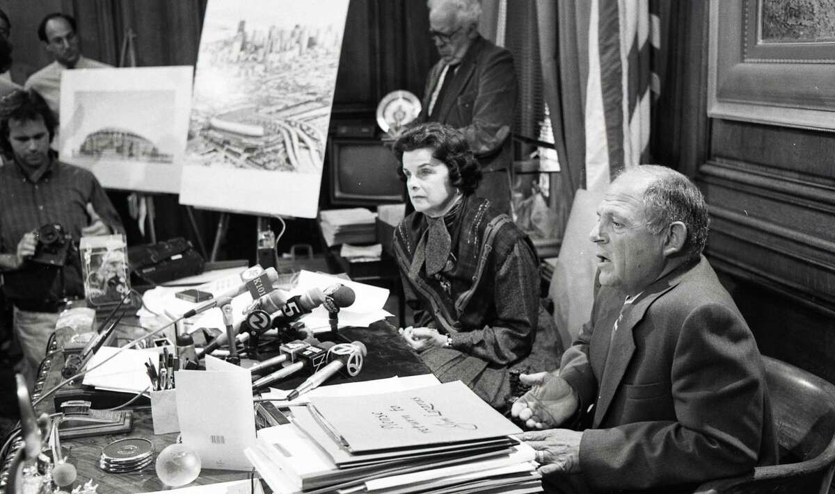 Aug. 5, 1987: Dianne Feinstein and Bob Lurie show off a new downtown San Francisco stadium design at a press conference at City Hall.