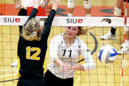 SIUE's Rachel McDonald had 14 kills Thursday, but the fifth-seeded Cougars were defeated by fourth seeded Jacksonville State 25-19, 25-22, 25-22 in the quarterfinals of the OVC Tournament in Clarksville, Tenn.