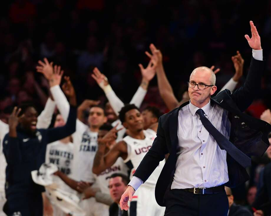 UConn coach Dan Hurley reacts as the bench celebrates after a Huskies rebound in the first half of Thursday's game against Syracuse in the 2k Empire Classic at Madison Square Garden in New York. Photo: Sarah Stier / Getty Images / 2018 Getty Images