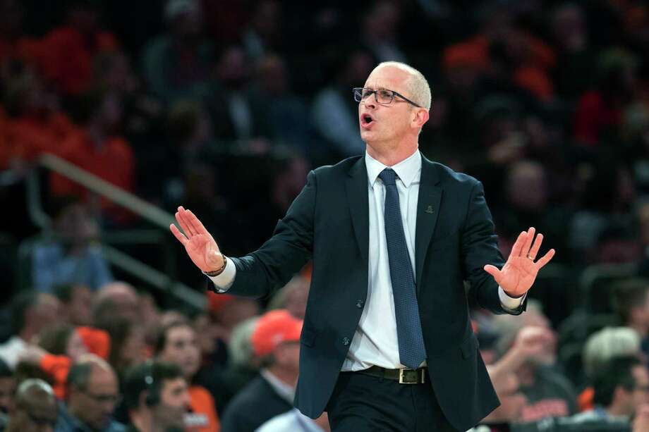 Connecticut head coach Dan Hurley reacts during the first half of an NCAA college basketball game against the Syracuse in the 2K Empire Classic, Thursday, Nov. 15, 2018, at Madison Square Garden in New York. Photo: Mary Altaffer, AP / Copyright 2018 The Associated Press. All rights reserved.
