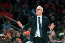 Connecticut head coach Dan Hurley reacts during the first half of an NCAA college basketball game against the Syracuse in the 2K Empire Classic, Thursday, Nov. 15, 2018, at Madison Square Garden in New York.