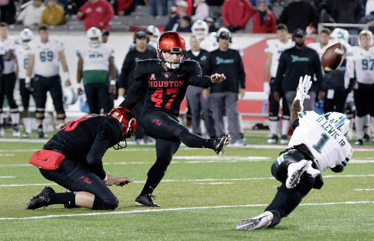 UH kicker Dalton Witherspoon tied a school record with a 53-yard field goal last season.