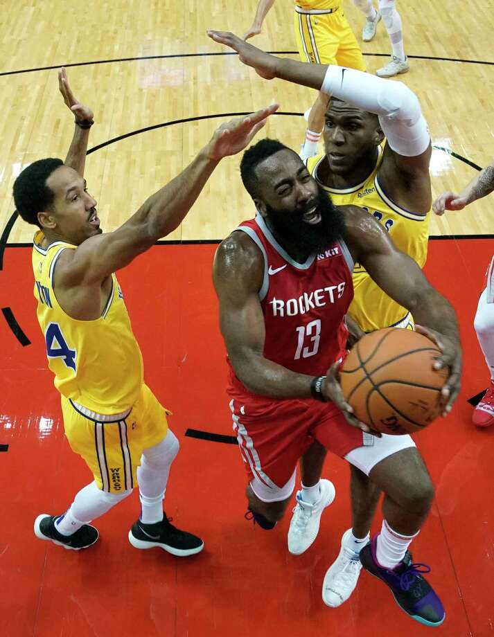 9d22e4bc1423 Houston Rockets  James Harden (13) goes up for a shot as Golden State
