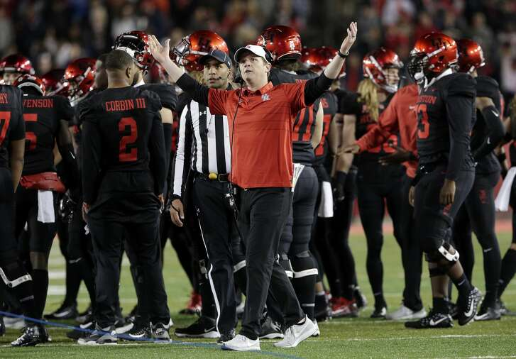 Houston head coach Major Applewhite reacts during a time out during the first half of their football game against Tulane Thursday, Nov. 15, 2018 in Houston, TX.