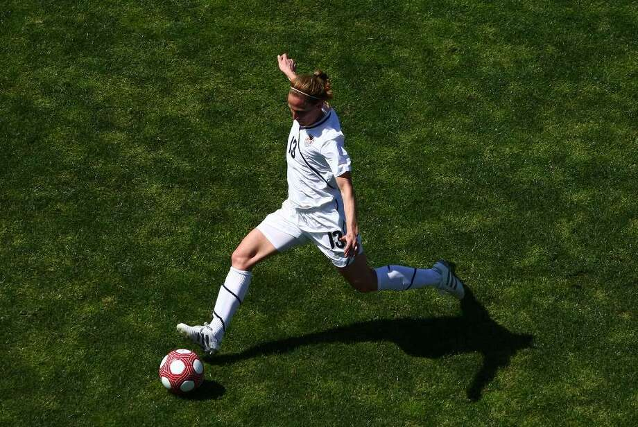 SAN DIEGO - MARCH 28:  Midfielder Kristine Lilly #13 of the USA kicks the ball during the Women's International Friendly Soccer Match between Mexico and the United States at Torero Stadium on March 28, 2010 in San Diego, California. USA won 3-0. (Photo by Donald Miralle/Getty Images) *** Local Caption *** Kristine Lilly Photo: Donald Miralle, Getty Images / 2010 Getty Images