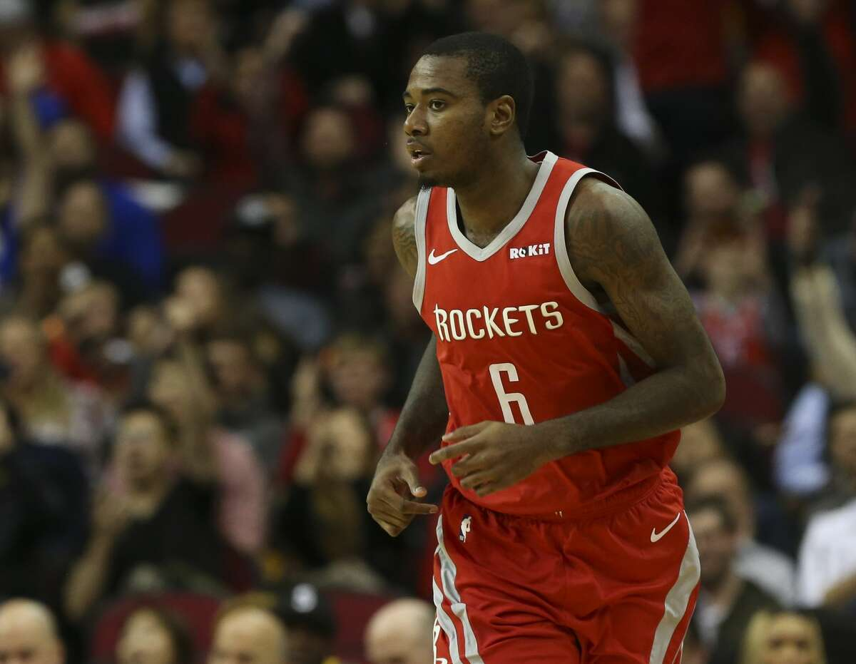 Houston Rockets forward Gary Clark (6) after scoring a three-pointer during the third quarter of the NBA game against the Golden State Warriors at Toyota Center on Thursday, Nov. 15, 2018, in Houston.
