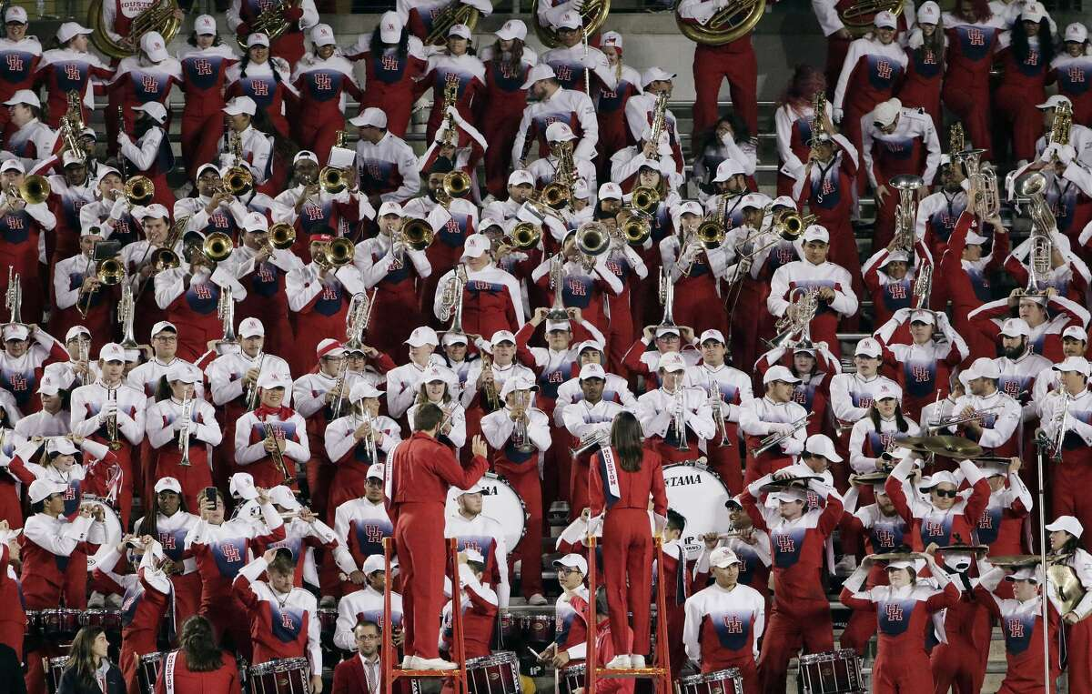 The Spirit of Houston Marching Band performs in the stands during the second half of their football game against Tulane Thursday, Nov. 15, 2018 in Houston, TX.