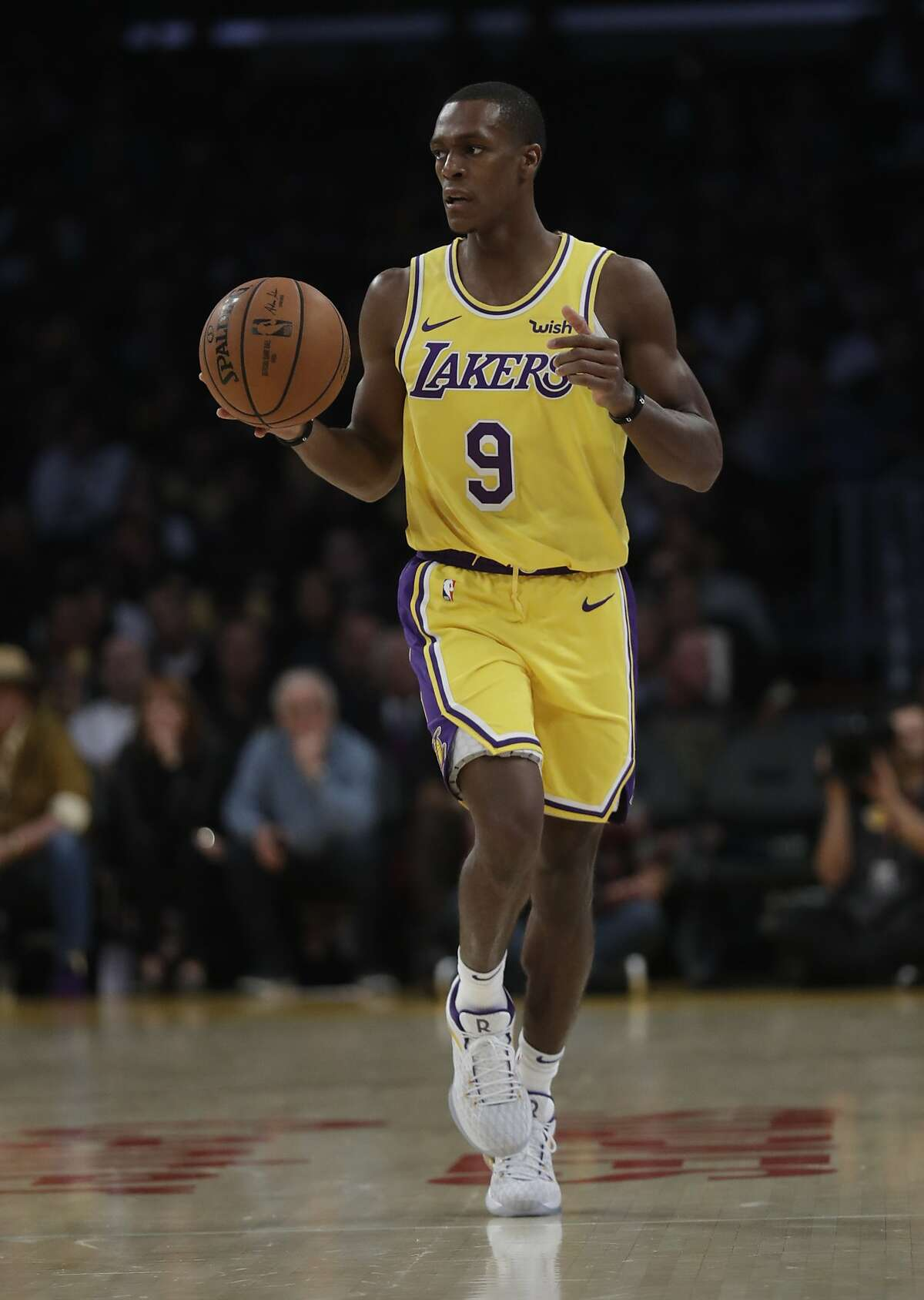 Los Angeles Lakers' Rajon Rondo during the second half of an NBA basketball game against the Houston Rockets Saturday, Oct. 20, 2018, in Los Angeles. (AP Photo/Marcio Jose Sanchez)