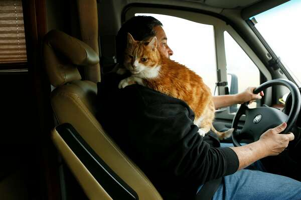 Richard Tafalla drives along Highway 32 back home with his cat Peaches on Thursday, Nov. 15, 2018, in Forest Ranch, Calif. The road was previously closed at Yosemite Drive. The area was the first to lift its evacuation orders.
