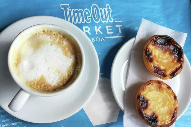 Pasteis de nata (egg tarts) are the only food item offered at the Manteigaria cafe in the Time Out market at the Mercado da Ribeira near the Lisbon waterfront.