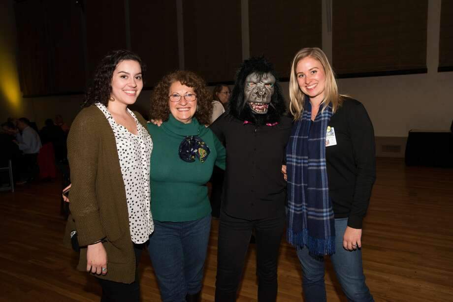 The Guerrilla Girls, feminist activist artists, spoke to a sold out crowd at the McNay Art Museum Thursday night. Photo: Aiessa Ammeter