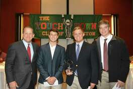 Houston Texans president Jamey Rootes joins the three winners of the Touchdown Club of Houston 2018 Greater Houston High School Football Scholar-Athlete Award. From left to right, Garrett Madison of Katy, Sam Habel of Stratford and Graham Lakin of Cy-Fair.