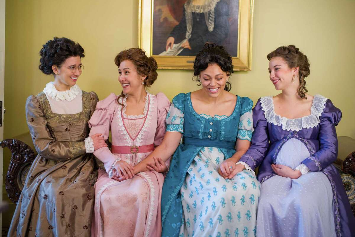 Connie Castanzo as Mary Bennet, Marielle Young as Lydia Wickham, Kelsey Rainwater as Elizabeth Darcy and Caroline Whelehan as Jane Bingley in