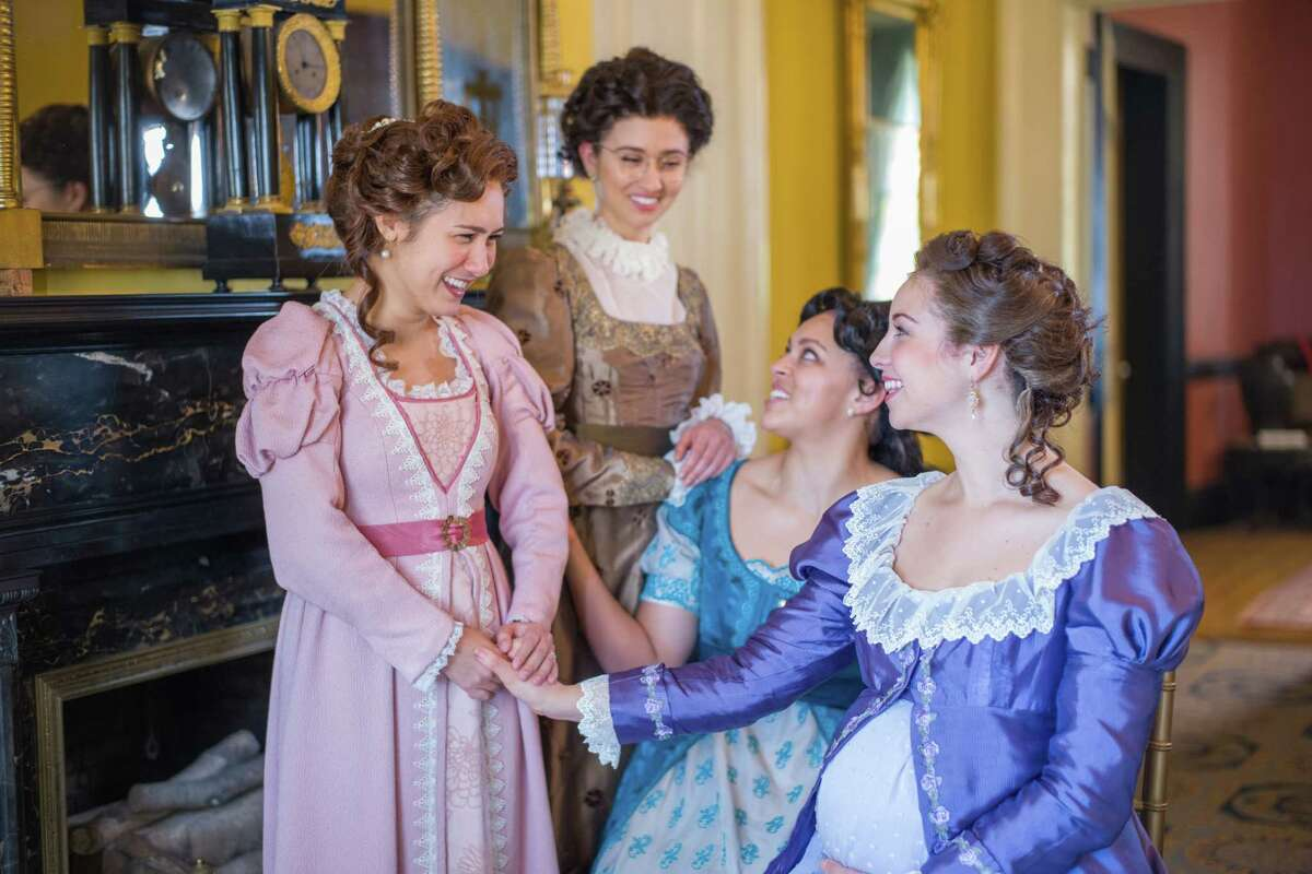 Marielle Young as Lydia Wickham, Connie Castanzo as Mary Bennet, Kelsey Rainwater as Elizabeth Darcy and Caroline Whelehan as Jane Bingley in