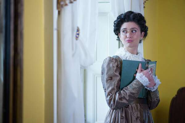 """Connie Castanzo as Mary Bennet in """"Miss Bennet: Christmas at Pemberley"""" at Capital Repertory Theatre. Photo Credit Richard Lovrich."""