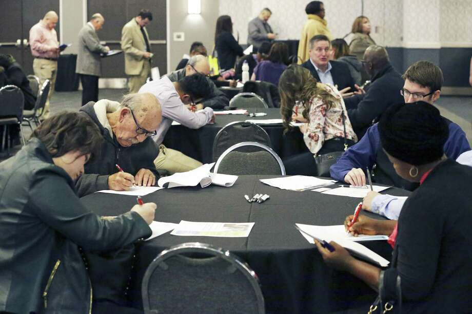 The San Antonio Career Fair will be held this Thursday at the Norris Conference Center. File photo shows job seekers during the Mega Career Fair at the Norris Conference Center. Photo: Tom Reel /Staff Photographer / 2017 SAN ANTONIO EXPRESS-NEWS