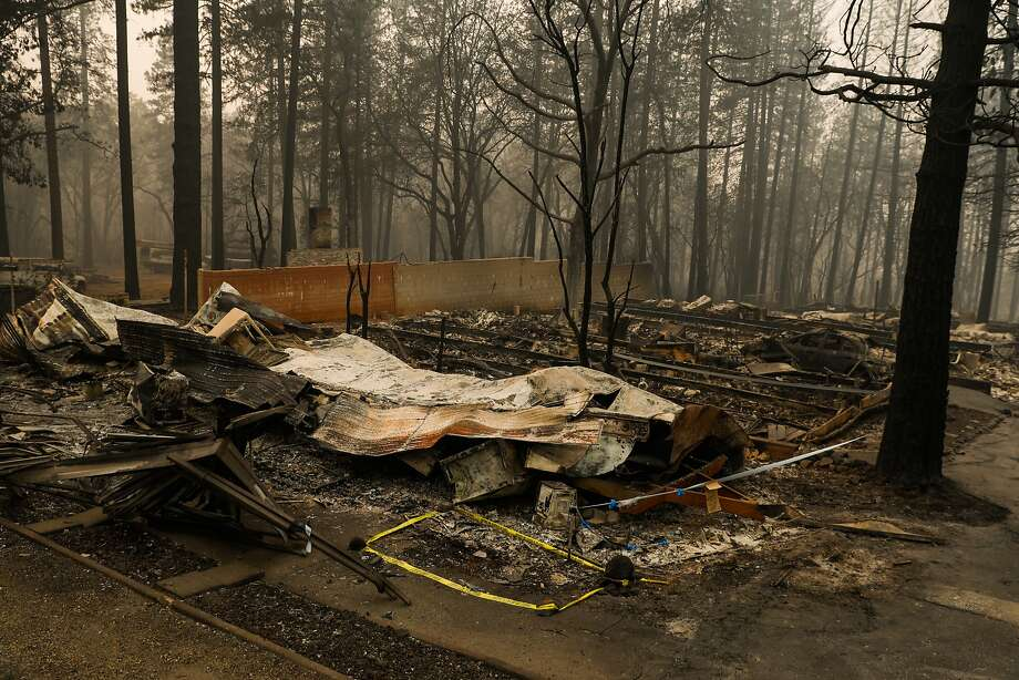 Caution tape is seen on a destroyed property where remains were discovered following the Camp Fire in Paradise, California, on Thursday, Nov. 15, 2018. Photo: Gabrielle Lurie / The Chronicle