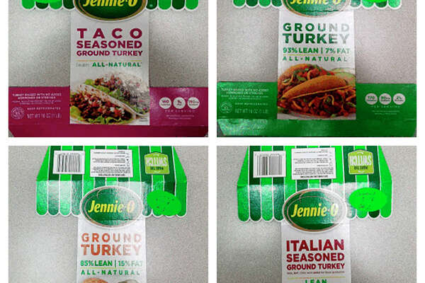 This combination of images provided by Hormel on Friday, Nov. 16, 2018 shows packaging for four types of Jennie-O ground raw turkey with a P190 designation which have been recalled due to concerns over salmonella. Salmonella in food is estimated to be responsible for 1 million illnesses a year, with symptoms including vomiting, diarrhea and stomach cramps. (Hormel via AP)
