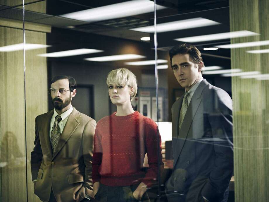 "Scoot McNairy as Gordon Clark, Mackenzie Davis as Cameron Howe and Lee Pace as Joe MacMillan in ""Halt and Catch Fire."" Photo: James Minchin III / AMC / Internal"