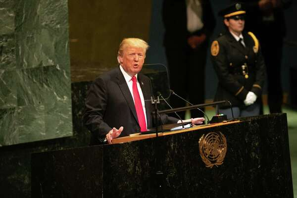 President Donald Trump speaks during the UN General Assembly meeting in New York, on Sept. 25, 2018.