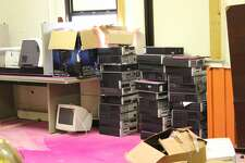Computers for auction at the Paul Brown Alternative Education Center in Beaumont.