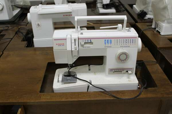 Sewing machines for auction at the Paul Brown Alternative Education Center in Beaumont.