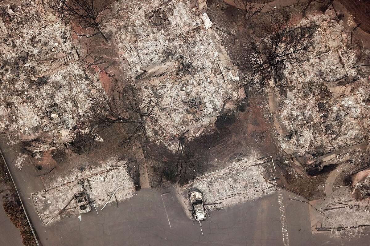 The Shelter Cove Apartments along Clark Road are destroyed, Thursday, Nov. 15, 2018, in Paradise, Calif. As of this morning, the Camp Fire has burned 140,000 acres. The wildfire is 40% contained. 56 people have died.