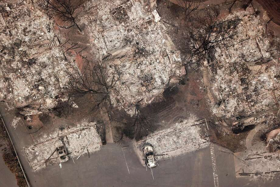 The Shelter Cove Apartments along Clark Road were destroyed Nov. 15 in Paradise. As of Saturday, the Camp Fire had burned 148,000 acres. The wildfire is 55 percent contained. At least 71 people have died. Photo: Santiago Mejia / The Chronicle