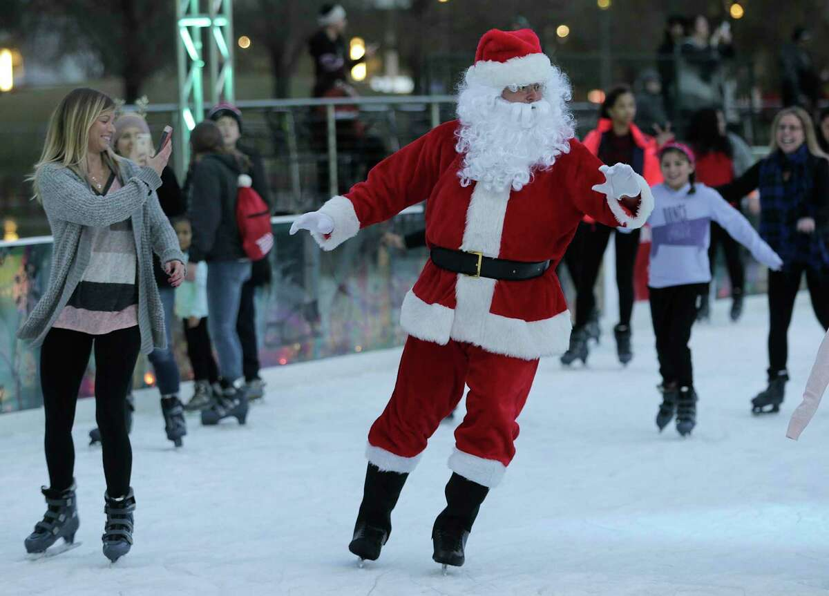 Santa will skate on the ice rink at Discovery Green.