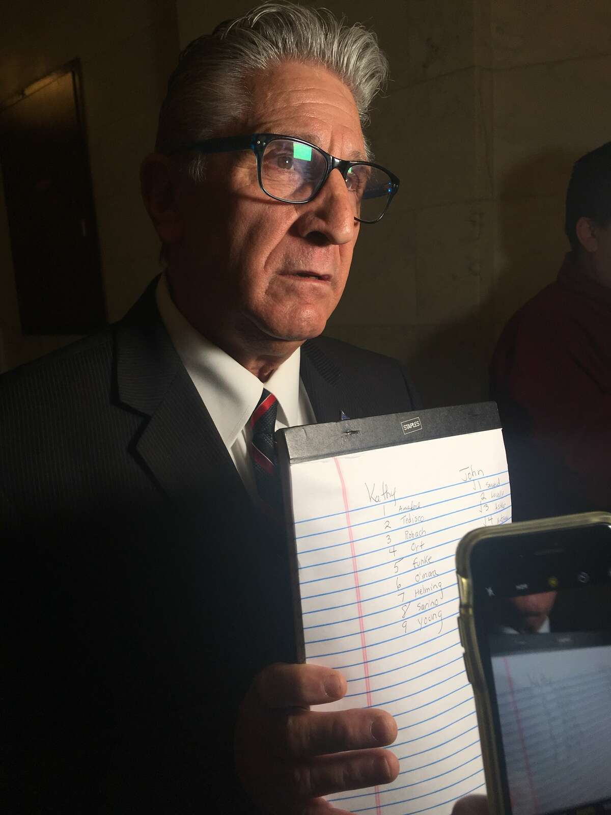 Sen. James Tedisco, R-Glenville, displays his vote tally from the GOP state Senate leadership race on Friday in the Capitol. He backed Catharine Young's unsuccessful challenge to John Flanagan. (David Lombardo / Times Union)