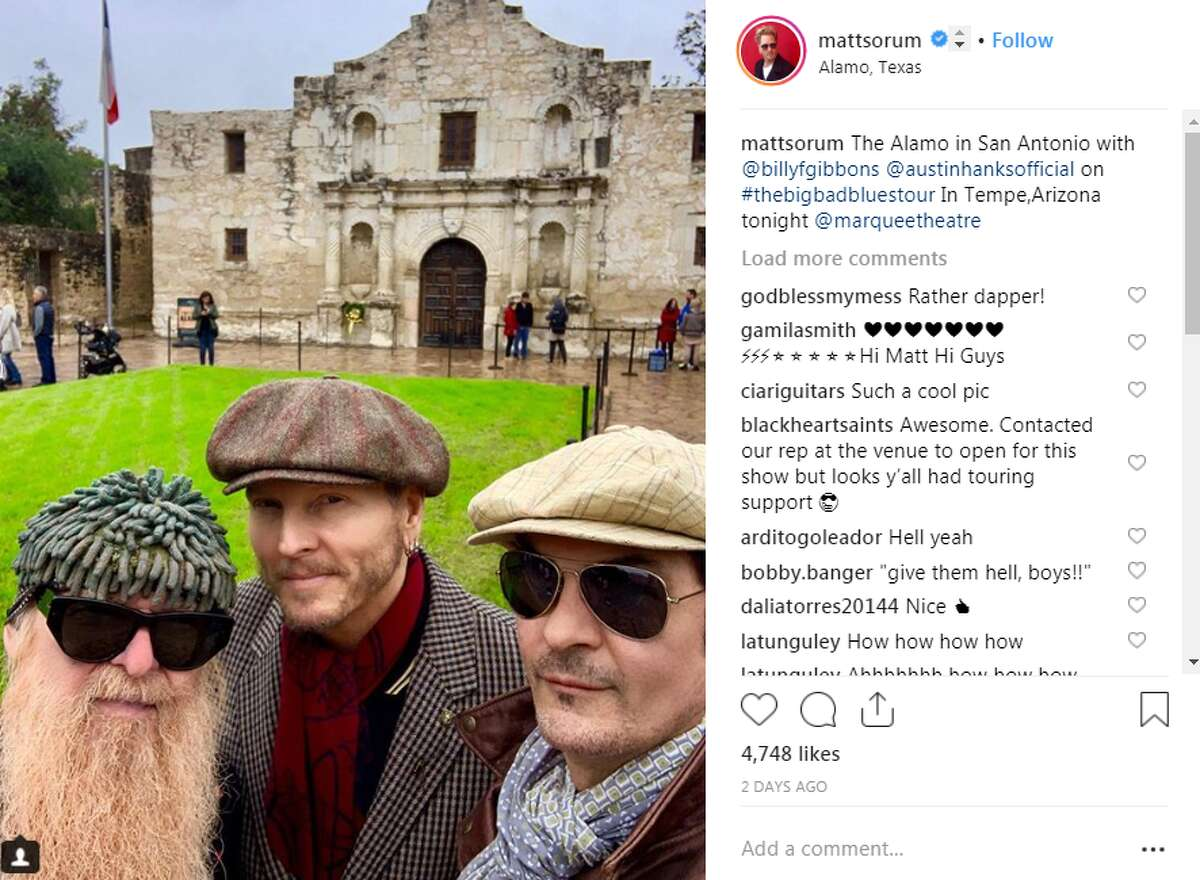 Billy F. Gibbons, Matt Sorum mattsorum: The Alamo in San Antonio with @billyfgibbons @austinhanksofficial on #thebigbadbluestour In Tempe,Arizona tonight @marqueetheatre