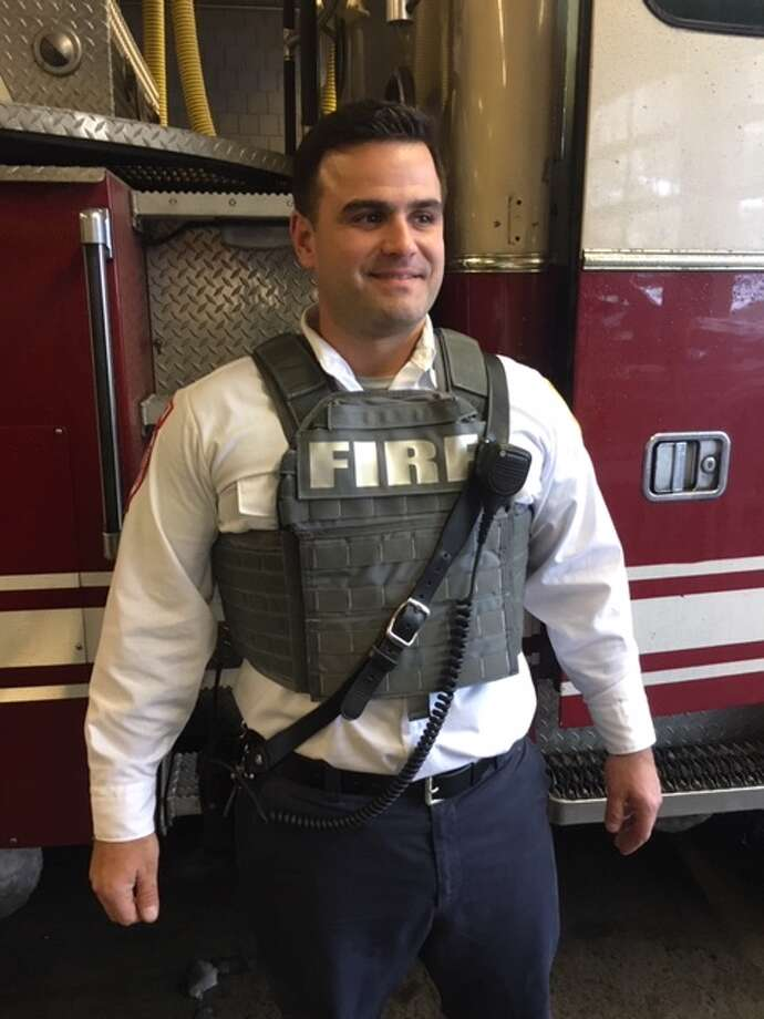 A member of the Schenectady Fire Department wears one of the new bulletproof vests purchased for firefighters on Nov. 16, 2018. Photo: Schenectady Fire Dept.