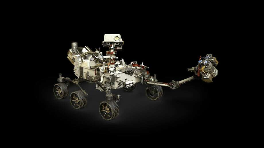 An artist representative represents the Mars 2020 rover of NASA, with its extended robotic arm. Photo: Courtesy of NASA / JPL-Caltech / Brochure