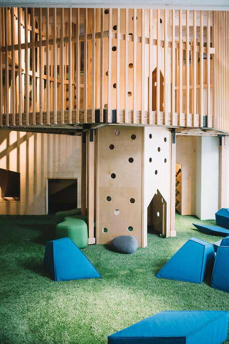 The play area at Fox and Kit in San Rafael gives kids a place to occupy themselves while their parents have coffee and schmooze. Photo: Adam Szafranski