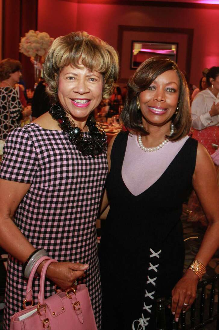 Merele Yarborough, left, and Lora Clemmons at the Razzle Dazzle luncheon. (For the Chronicle/Gary Fountain, October 1, 2015)
