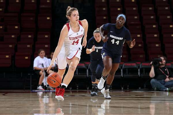 Mikaela Brewer of Stanford Women's Basketball dribbles the ball during a game against Vanguard at Maples, Pavilion in Stanford, CA on November 1, 2018.