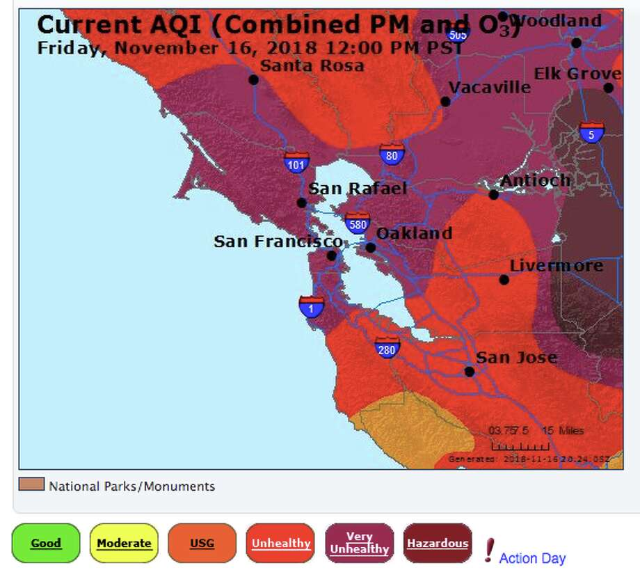 AIR Now shares the air quality index for the Bay Area and surrounding region. On Friday, Nov. 16, 2018 San Francisco reached a 233 AQI and purple on a color scale of six. Purple zones range from 201-300 AQI and are considered very unhealthy for everyone. Photo: AIR Now Screen Grab
