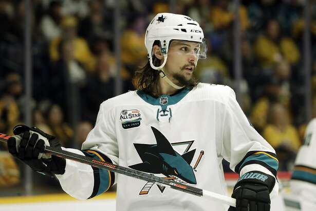 San Jose Sharks defenseman Erik Karlsson, of Sweden, plays against the Nashville Predators in the second period of an NHL hockey game Tuesday, Oct. 23, 2018, in Nashville, Tenn. (AP Photo/Mark Humphrey)
