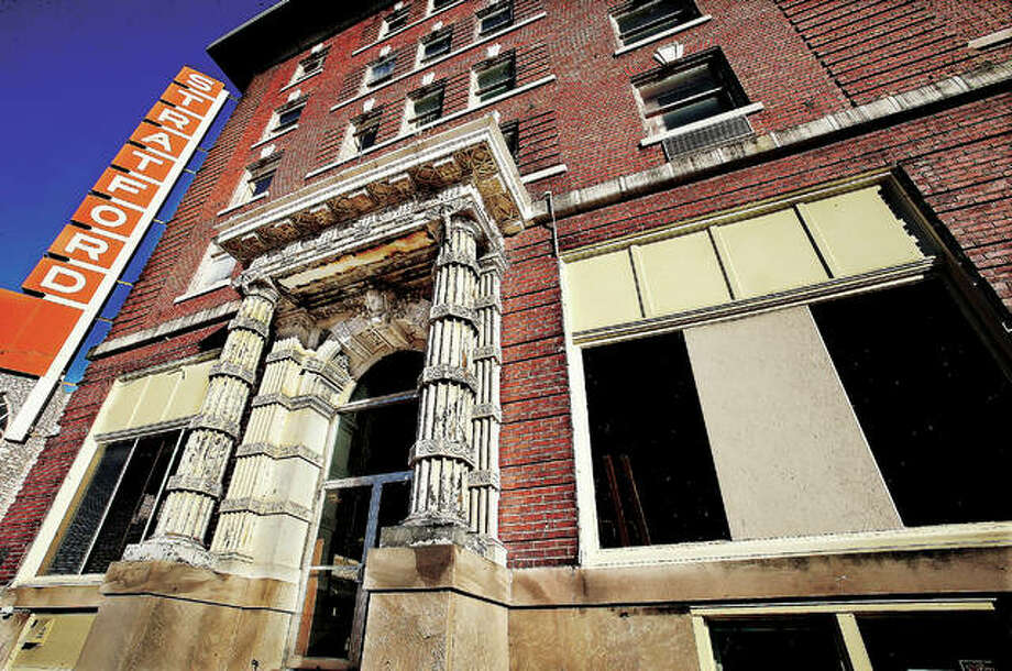 The former Hotel Stratford, built in 1909 and opened as the Illini Hotel, has apparently been purchased by local attorney John Simmons. The building was placed on the National Register of Historic Places in 2000 and closed in late 2011. Photo: John Badman | The Telegraph