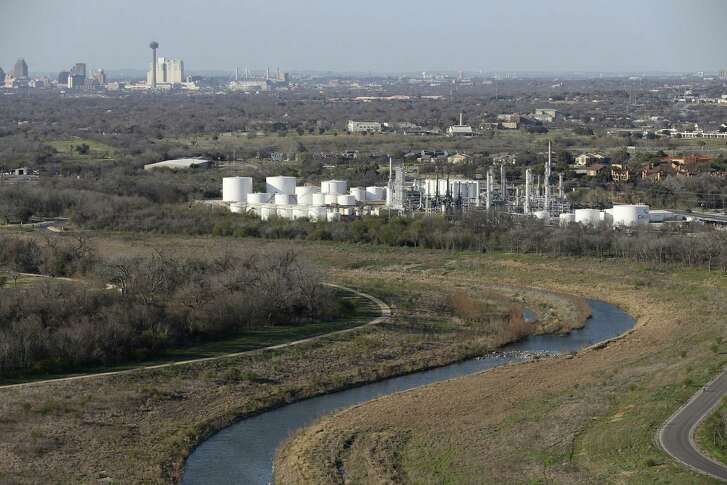 Naphtha, a hydrocarbon mixture used in fuels and solvents, leaked from the refinery Thursday into a tributary leading to the Mission Reach of the San Antonio River, just north of Mission San Juan.