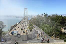 A rendering of the proposed western span bike path