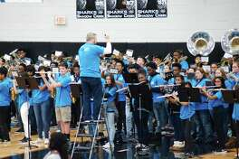 The Shadow Creek High School Band performs during a pep rally before the schools' first UIL playoff game on Nov. 16.